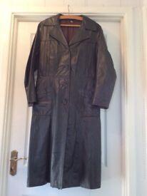 Green leather long ladies coat