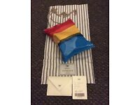 Auth Anya hindmarch crisp package clutch in rainbow brass