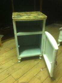Rattan style bedside cabinet