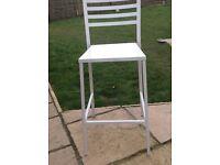 White metal bar stool