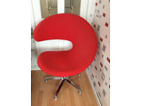 Quality Red Fabric swivel chair with chrome base