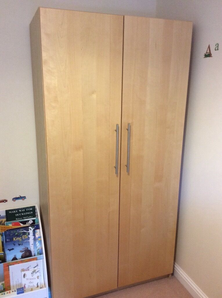 large ikea pax wardrobe birch with two drawers hanging