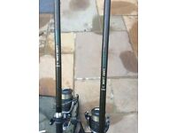 2 cheap rods and reels in bag