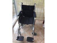 Lightweight folding aluminium wheelchair, nearly new