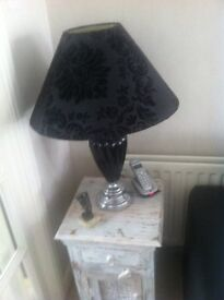 Simply Stunning Pair of Black Ceramic Table Lamps with black damask shades