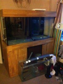 5 foot Aquarium & solid oak cabinet