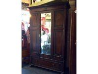 Reduced antique mirror fronted wardrobe