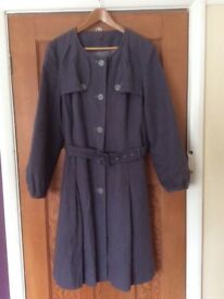 Cotton / linen blend coat. Slate grey / blue. Fully lined. Size 18. Hardly worn.