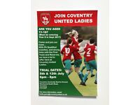Coventry United Ladies Open Trials for Girls Aged 11-18
