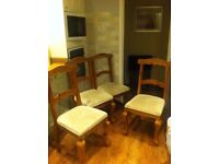 4 lovely light oak dining chairs, great design