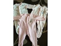 Baby girl sleepsuits up to one month