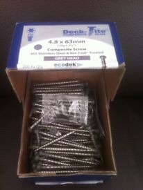 Deck-Tite x200 Composite Decking Screws! Stainless Steel! (Grey ) 4.8 x 63 mm