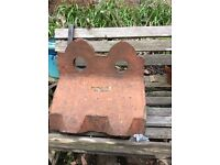 Antique Victorian Reclaimed Redbank Club Crested Ridge Tile