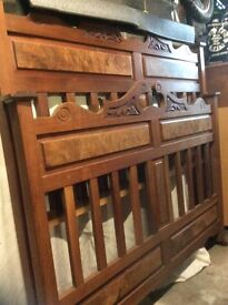 Antique walnut double bed
