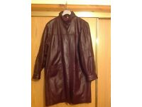 Ladies Burgandy leather coat size 14