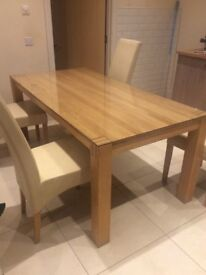 Solid Oak Table, 6ft by 3ft - comes with a glass top ( can be removed)