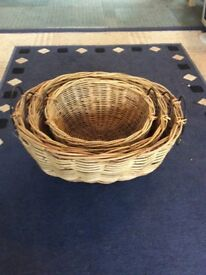 Three wicker basket set
