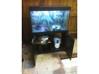 Aqua one 200ltr tropical fish tank with black wooden stand, working lights and pump