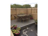 Full size garden table ,plus six chairs