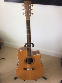 Steel string, electro-acoustic, dreadnought style Musima Nashville guitar from Germany