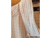 Men's Clothing Beige Check Short Sleeve Shirt Size Medium by Thomas Nash