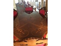 Teak inlayed Dinning table and 6 chairs