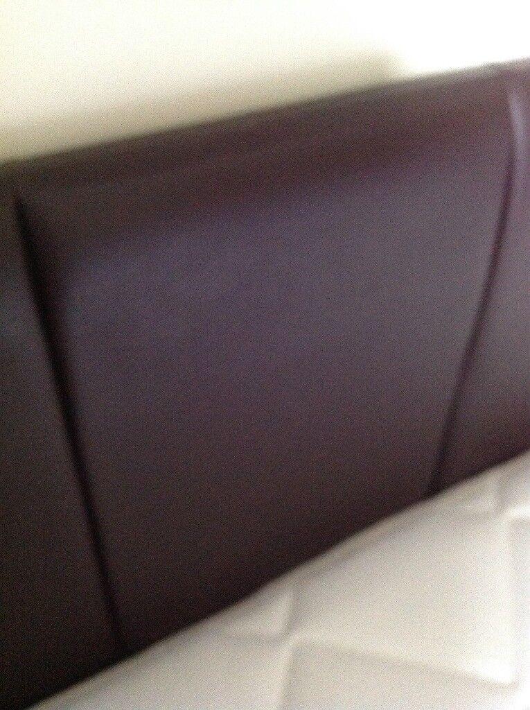 Tall Faux leather chocolate brown kingsize (5') headboard