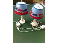 Children's bedside lamps with trains