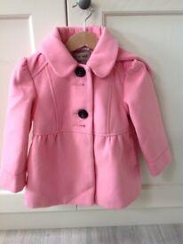 NEXT Pink Girls Pink Coat 2-3 Years