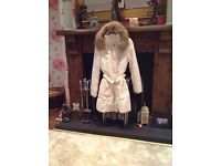 White new look puffa coat with belt