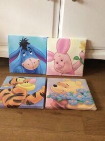 4 Winnie the Pooh canvases