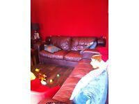 2 three seater brown leather sofas FREE