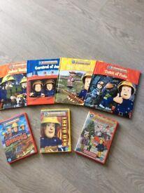 4 fireman Sam books and 3 DVDs