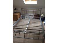 Grey Metal Framed bed & Mattress