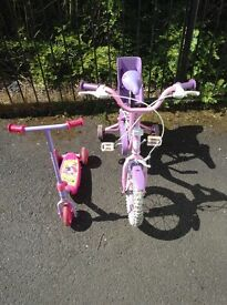 Bike for little girl pink Olivia 2-5 with stabilisers hardly used and scooter same age .