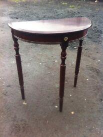 Reproduction vintage demilune console table