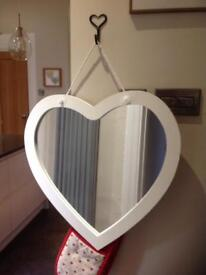 White wood heart mirror - good condition