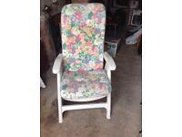 2-High-back reclining garden chairs plus cushions
