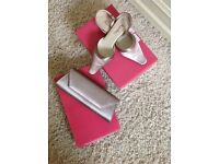 Satin she's and bag, worn once. Shoe size five half.