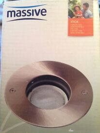 Outdoor inground brushed stainless steel lights x2
