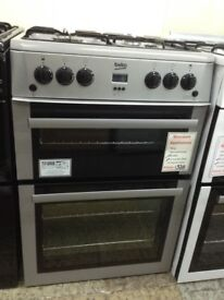 Beko 60cm silver gas cooker. Double oven £320. 12 month Gtee