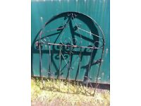 Rustic ( not rusting ) wrought iron garden gate with wall brackets