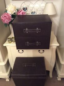Brown leather look set of two drawers