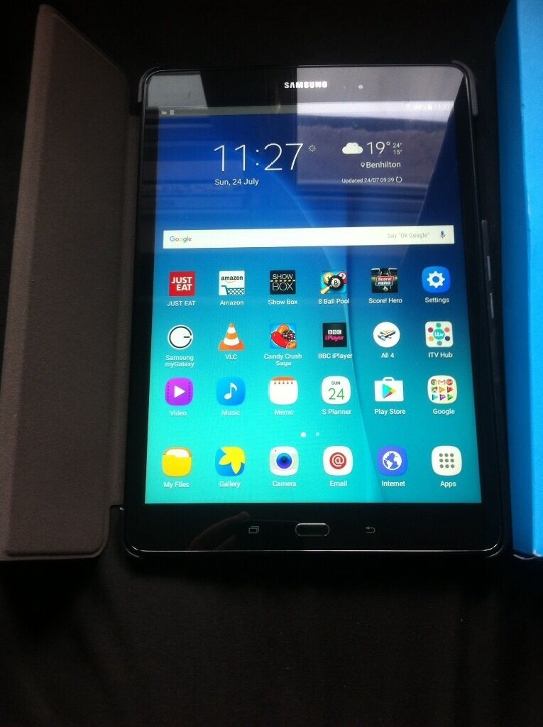"""Samsung Galaxy Tab A 9.7"""" with 64gb Sandisk ultra mini sd card and casein Sutton, LondonGumtree - Samsung Galaxy Tab A 9.7 inch 16GB wifi. only 1 month old and in like new condition. Comes with box and original charger and USB cable, protective case in black which doubles in to a stand and a 64GB Sandisk ultra mini sd card with converter to..."""