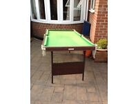 SNOOKER/POOL TABLE BY STUART FOLDING LEGS FOR STORAGE