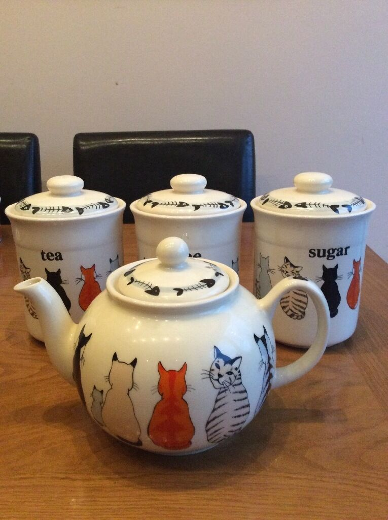 Cats In Waiting Teapot Tea Coffee Sugar Canisters In