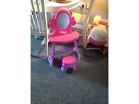 Girls beauty table with mirror and stool pink and purple