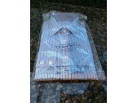 "New 15"" non iron slim fit cotton striped Charles Tyrwhitt shirt still in package."