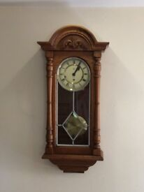 Chiming wall clock-solid light oak
