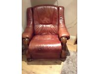 Solid oak recliner and sofa very good condition